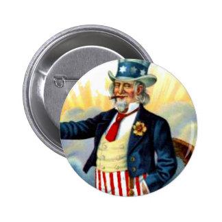 Vintage Uncle Sam July 4th Patriotic 6 Cm Round Badge
