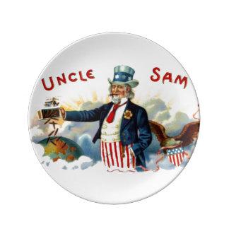 Vintage Uncle Sam Patriotic Cigar Label July 4th Plate