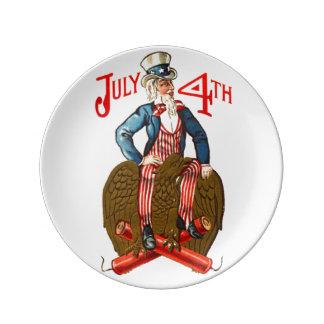 Vintage Uncle Sam Patriotic July 4th Plate