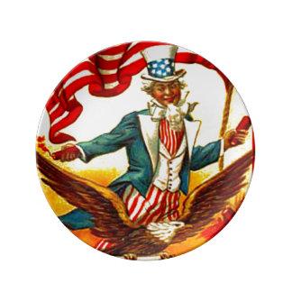 Vintage Uncle Sam Patriotic July 4th Porcelain Plate