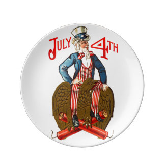 Vintage Uncle Sam Patriotic July 4th Porcelain Plates