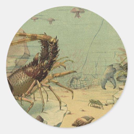 Vintage Underwater Ocean Scene with Sea Life Stickers