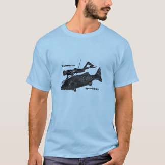 Vintage Underwater Spearfishing Diver with Fish T-Shirt