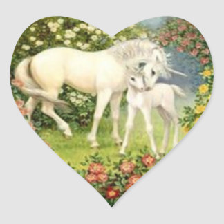 Vintage Unicorn And Foal Heart Sticker