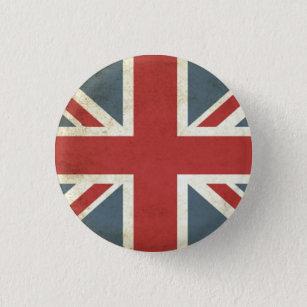 Vintage union jack 3 cm round badge
