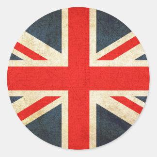 Vintage Union Jack British Flag Round Sticker