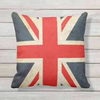 Vintage Union Jack British Flag Throw Pillow