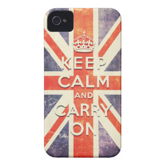 Vintage Union Jack flag keep calm and carry on Case-Mate iPhone 4 Cases