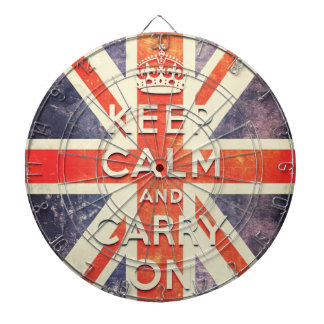 Vintage Union Jack flag keep calm and carry on Dartboard