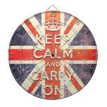 Vintage Union Jack flag keep calm and carry on Dartboard With Darts
