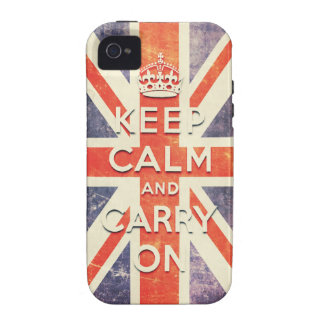 Vintage Union Jack flag keep calm and carry on iPhone 4/4S Cover