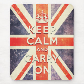 Vintage Union Jack flag keep calm and carry on Mouse Pad
