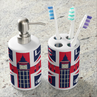 vintage union jack flag with london decoration bathroom set