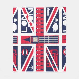 vintage union jack flag with london decoration fleece blanket