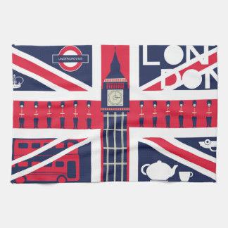 vintage union jack flag with london decoration hand towels
