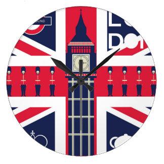vintage union jack flag with london decoration large clock