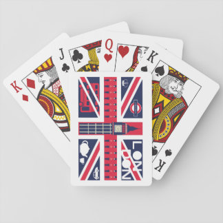 vintage union jack flag with london decoration playing cards