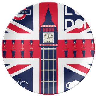 vintage union jack flag with london decoration porcelain plate
