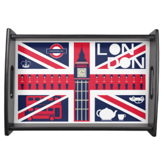 vintage union jack flag with london decoration serving tray