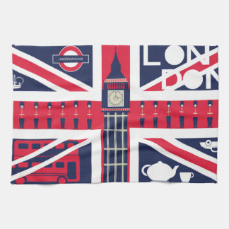 vintage union jack flag with london decoration tea towel