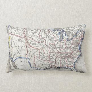 Vintage United States Gold Rush Regions Map (1852) Lumbar Cushion