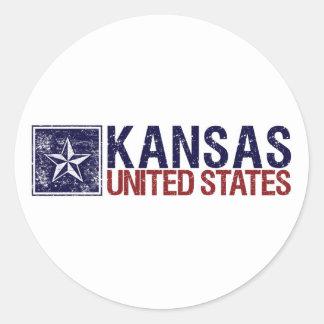 Vintage United States with Star – Kansas Classic Round Sticker