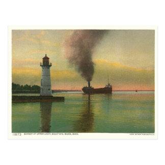 Vintage Upper Light lighthouse Post Card