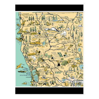 Vintage Upper Northern California Map Postcard