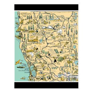 Vintage Upper Northern California Map Postcard
