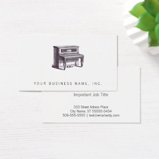 Vintage Upright Piano Business Card