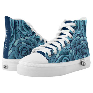 vintage urban blue roses flower print bridal shoes printed shoes