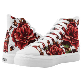 vintage urban red roses flower print shoes printed shoes