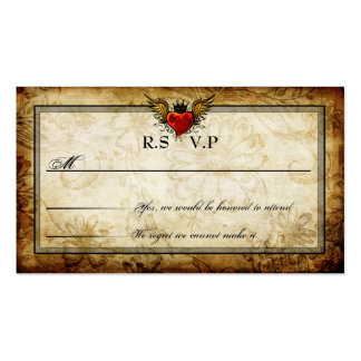 Vintage Urban Tattoo Winged Heart RSVP Cards Pack Of Standard Business Cards