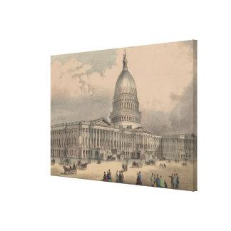 Vintage US Capitol Building Illustration (1872) Canvas Print