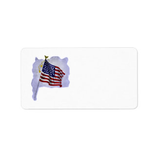 Vintage US Flag in Patriotic Label
