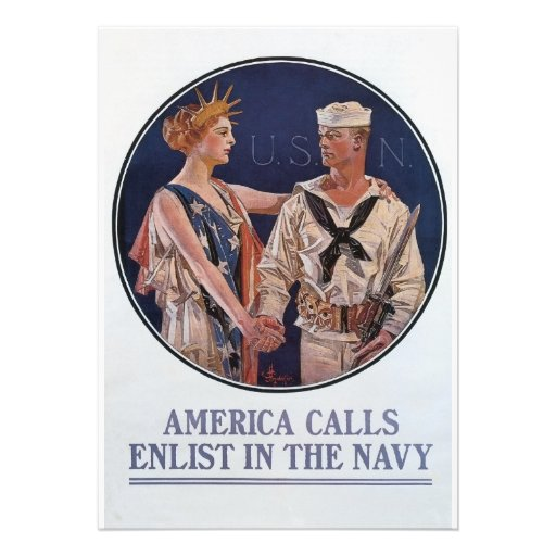 Vintage US Navy America Calls Recruiting poster Announcement