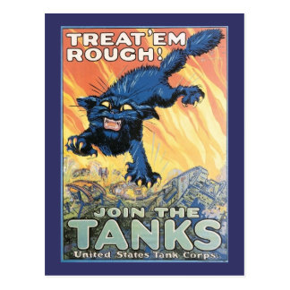 Vintage US Tank Corps Recruiting Poster Postcard