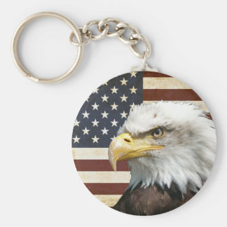 Vintage US USA Flag with American Eagle Basic Round Button Key Ring