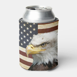 Vintage US USA Flag with American Eagle Can Cooler
