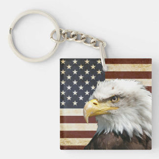 Vintage US USA Flag with American Eagle Key Ring