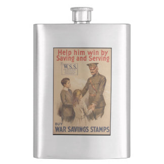 Vintage US War Saving Stamps Hip Flask