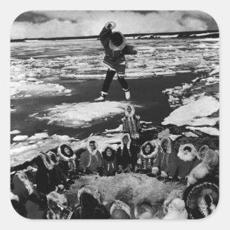 Vintage USA Alaska eskimo blanket tossing 1970 Square Sticker