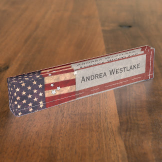 Vintage USA Flag Name Plates