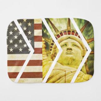Vintage USA Flag Statue of Liberty Chevrons Burp Cloth