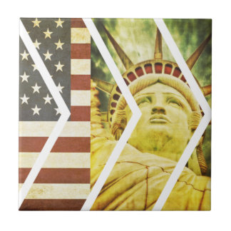 Vintage USA Flag Statue of Liberty Chevrons Ceramic Tile