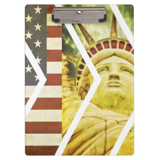 Vintage USA Flag Statue of Liberty Chevrons Clipboard