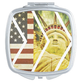 Vintage USA Flag Statue of Liberty Chevrons Compact Mirrors