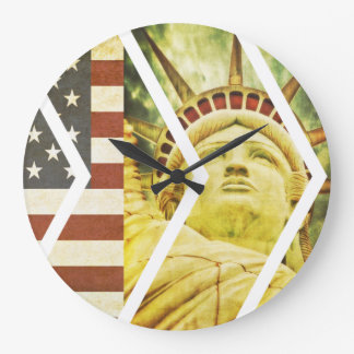 Vintage USA Flag Statue of Liberty Chevrons Large Clock