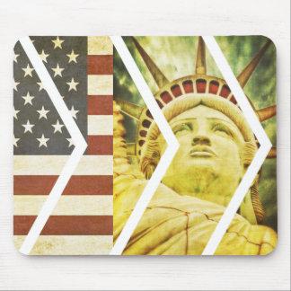 Vintage USA Flag Statue of Liberty Chevrons Mouse Pad
