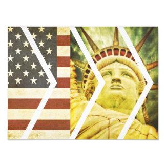 Vintage USA Flag Statue of Liberty Chevrons Photo Print